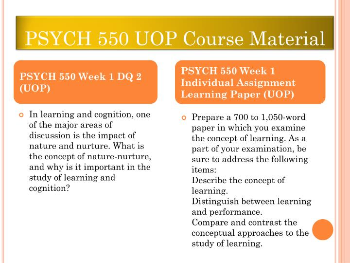 PSYCH 550 UOP Course