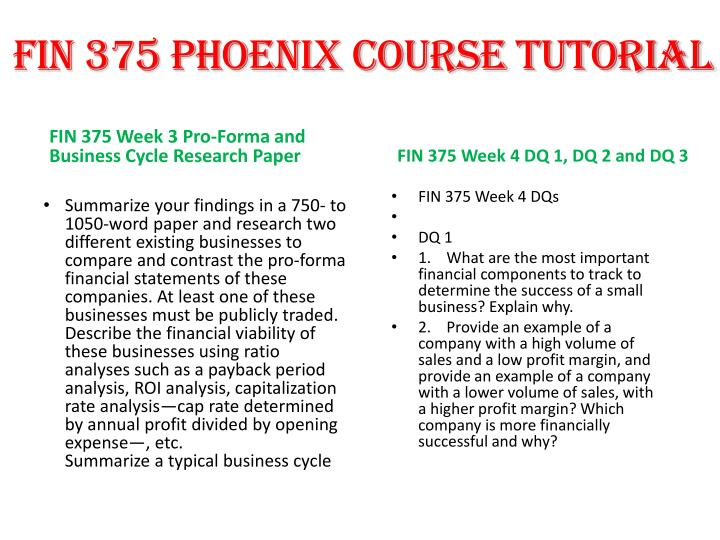 FIN 375 PHOENIX COURSE TUTORIAL