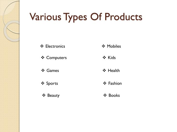 Various Types Of Products