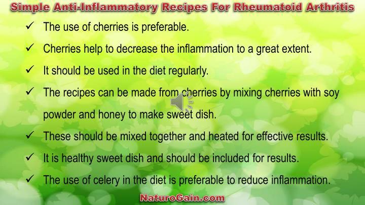 Simple Anti-Inflammatory Recipes For Rheumatoid Arthritis