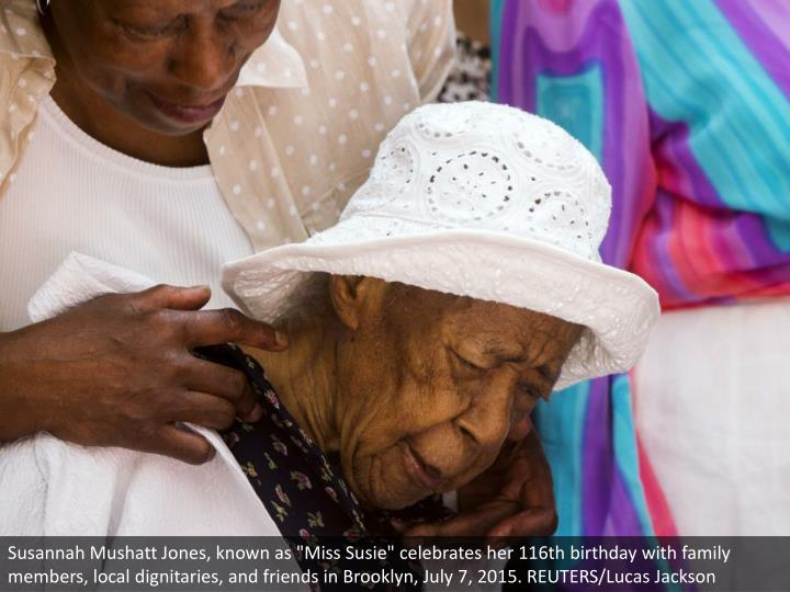 """Susannah Mushatt Jones, known as """"Miss Susie"""" celebrates her 116th birthday with family members, local dignitaries, and friends in Brooklyn, July 7, 2015. REUTERS/Lucas Jackson"""