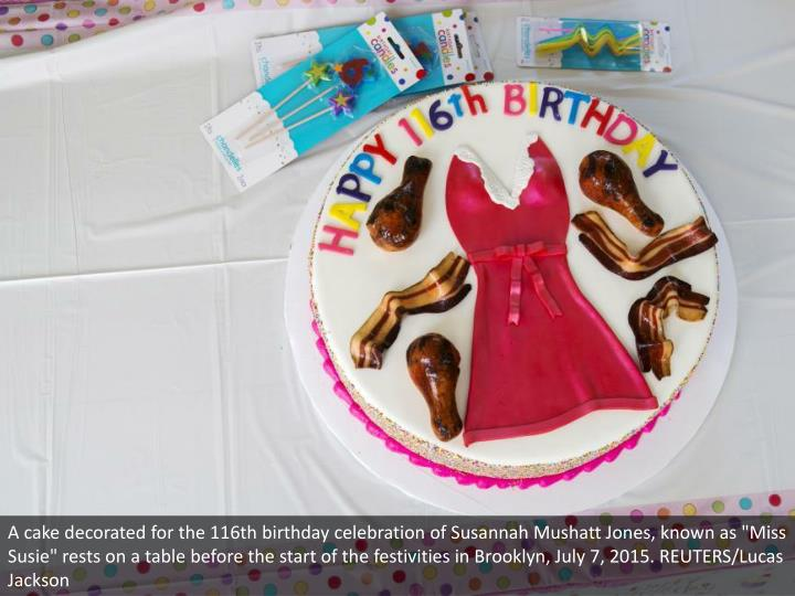 """A cake decorated for the 116th birthday celebration of Susannah Mushatt Jones, known as """"Miss Susie"""" rests on a table before the start of the festivities in Brooklyn, July 7, 2015. REUTERS/Lucas Jackson"""