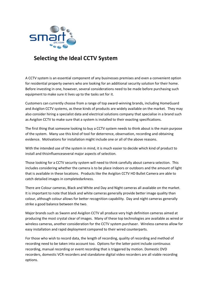 Selecting the Ideal CCTV System