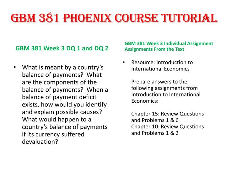 GBM 381 PHOENIX COURSE TUTORIAL