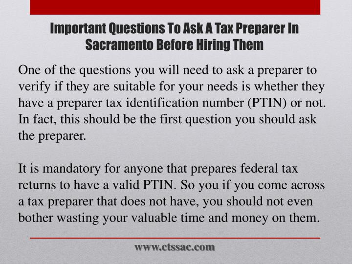 Important questions to ask a tax preparer in sacramento before hiring them2