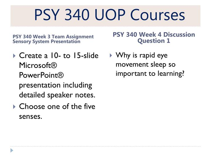 PSY 340 UOP Courses