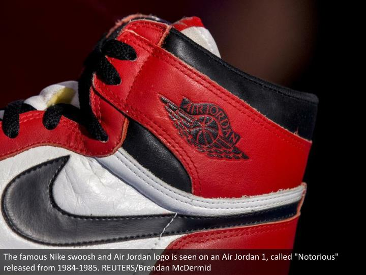 "The famous Nike swoosh and Air Jordan logo is seen on an Air Jordan 1, called ""Notorious"" released from 1984-1985. REUTERS/Brendan McDermid"