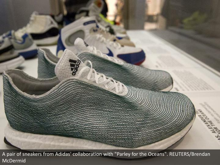 "A pair of sneakers from Adidas' collaboration with ""Parley for the Oceans"". REUTERS/Brendan McDermid"