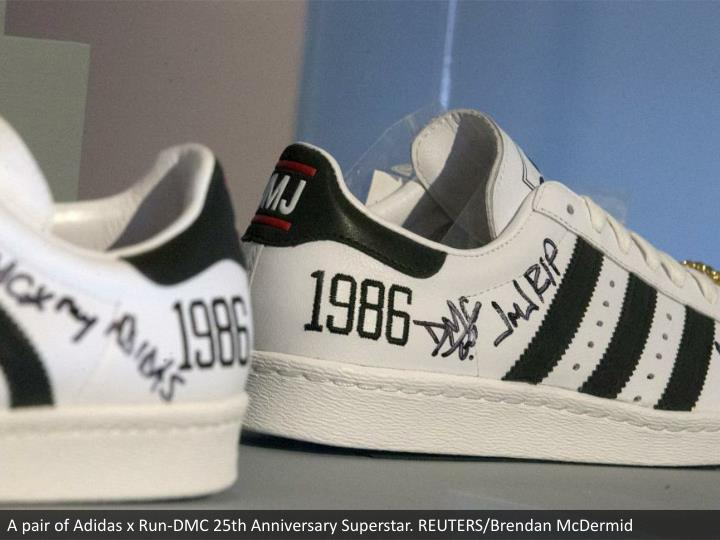 A pair of Adidas x Run-DMC 25th Anniversary Superstar. REUTERS/Brendan McDermid