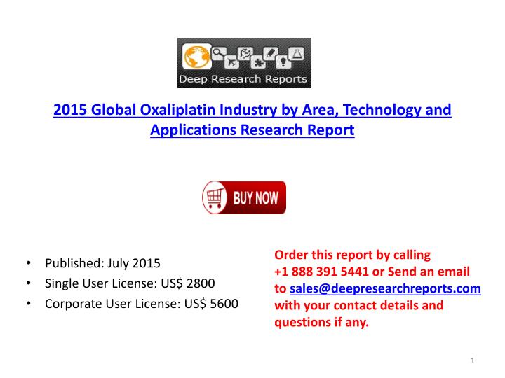 2015 Global Oxaliplatin Industry by Area, Technology and Applications