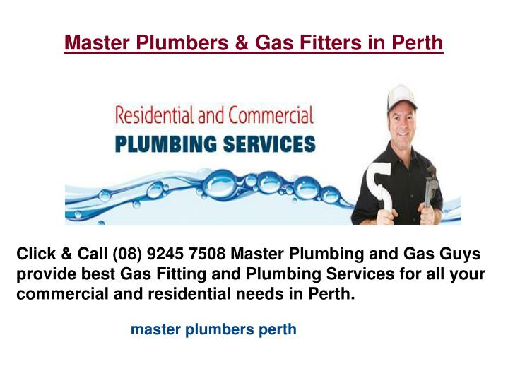 Master Plumbers & Gas Fitters in Perth