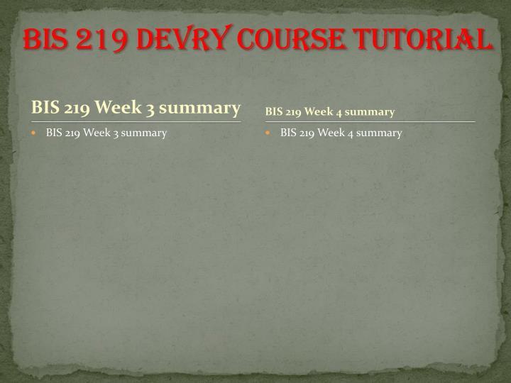 BIS 219 DEVRY