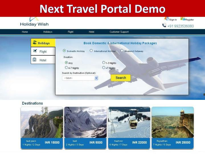Next Travel Portal Demo