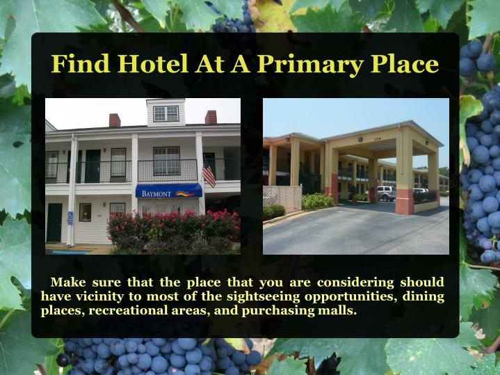 Find hotel at a primary place