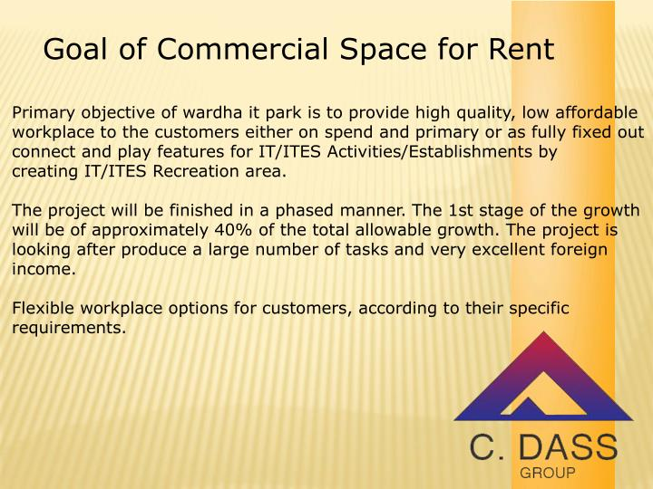Goal of Commercial Space for Rent