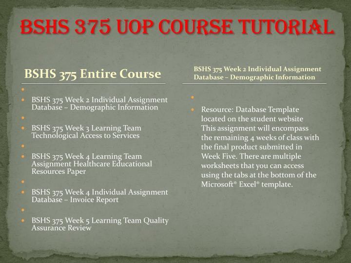 BSHS 375 UOP