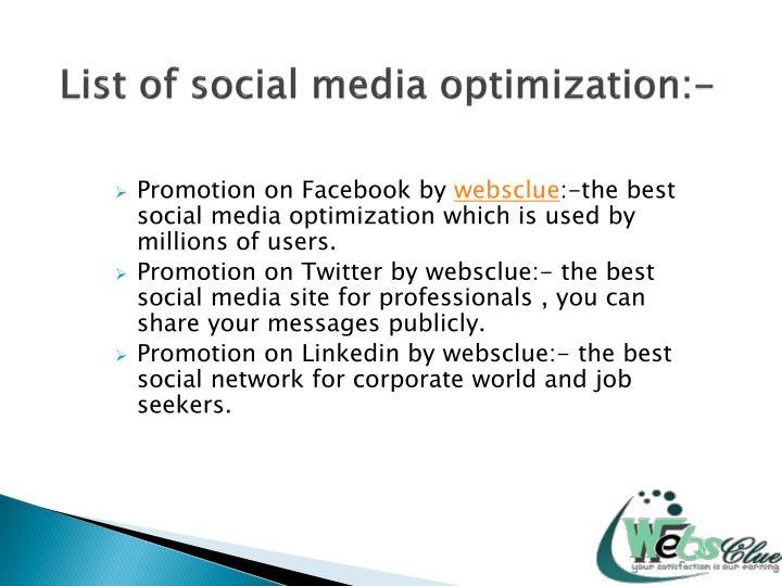 List of social media optimization:-