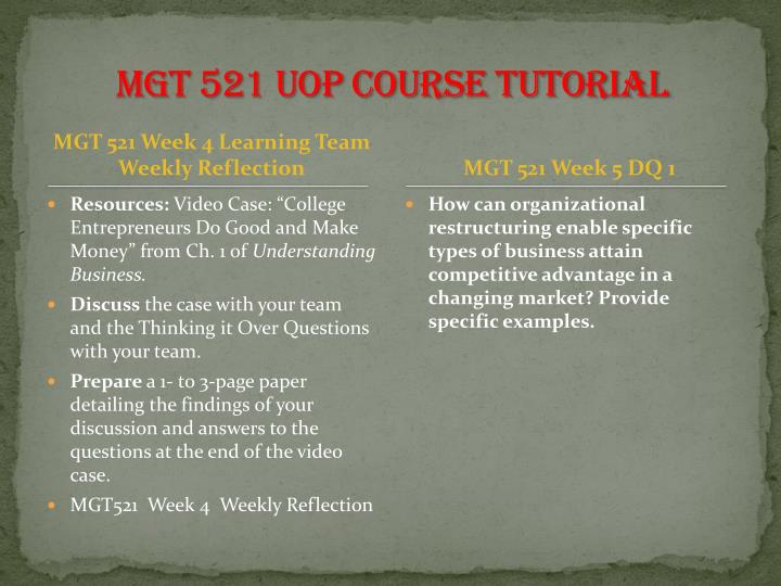 MGT 521 UOP Course Tutorial