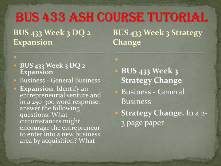 BUS 433 ASH