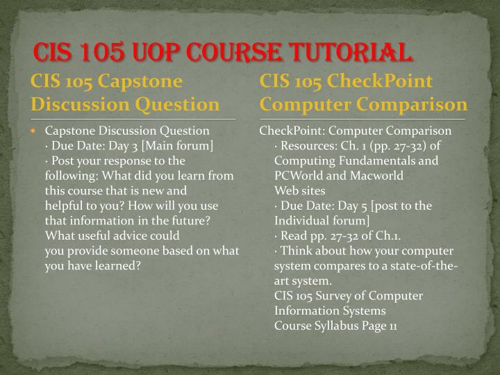 Cis 105 uop course tutorial