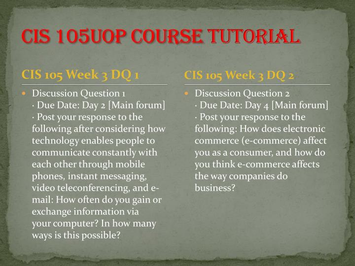 CIS 105UOP Course