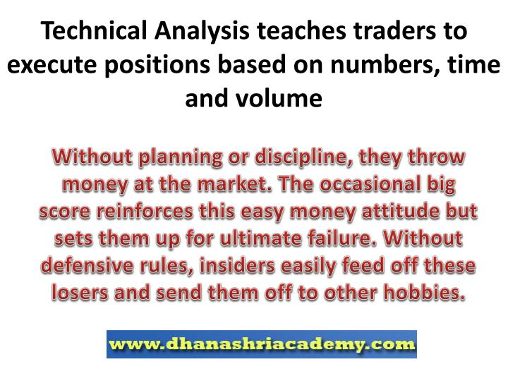 Technical Analysis teaches traders to execute positions based on numbers, time and volume