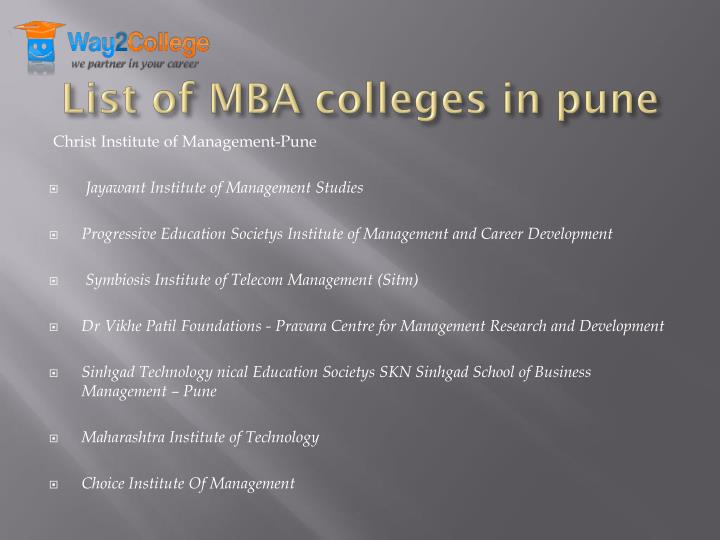 List of MBA colleges in pune