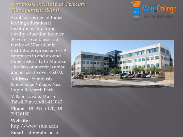 Symbiosis Institute of Telecom Management (Sitm)