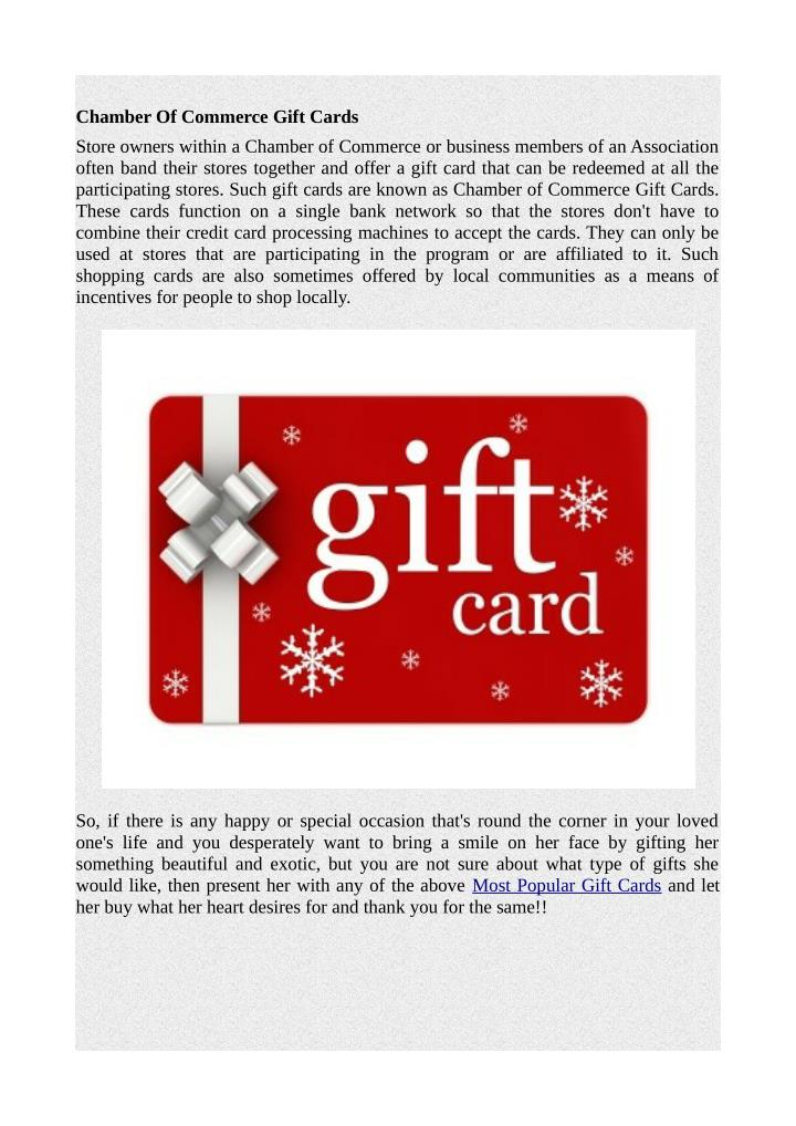 Chamber Of Commerce Gift Cards