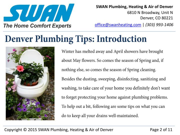 Denver plumbing tips introduction