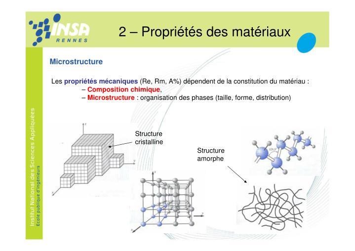 2 – Propriétés des matériaux