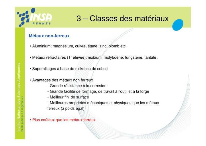 3 – Classes des matériaux