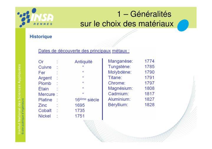 1 – Généralités