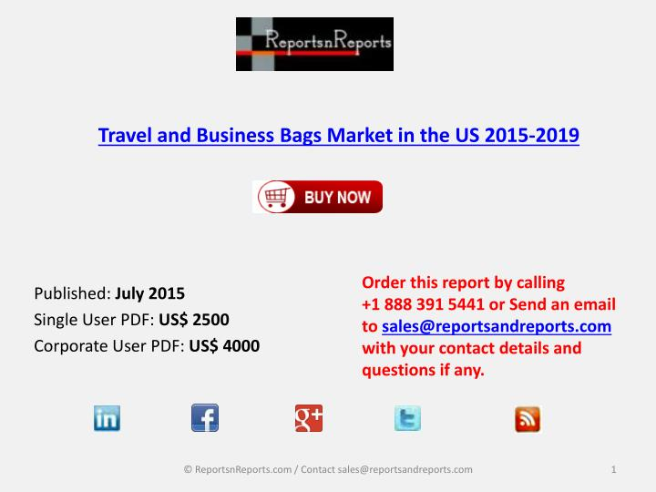 Travel and business bags market in the us 2015 2019