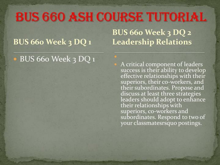BUS 660 ASH