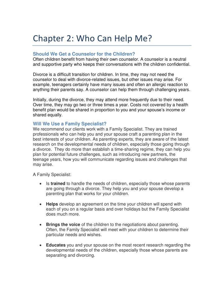 Chapter 2: Who Can Help Me?