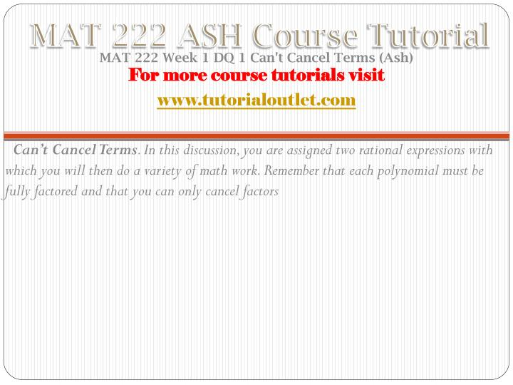 Mat 222 ash course tutorial1