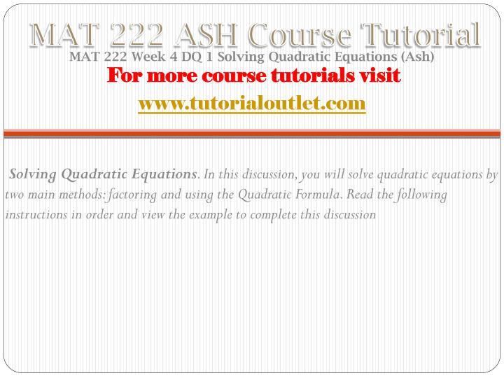 MAT 222 ASH Course