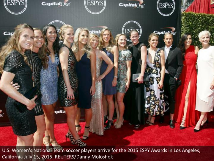 U.S. Women's National Team soccer players arrive for the 2015 ESPY Awards in Los Angeles, California July 15, 2015. REUTERS/Danny Moloshok