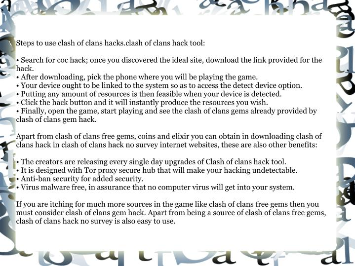 Steps to use clash of clans hacks.clash of clans hack tool:
