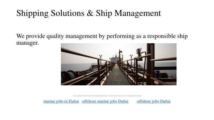 Shipping solutions ship management