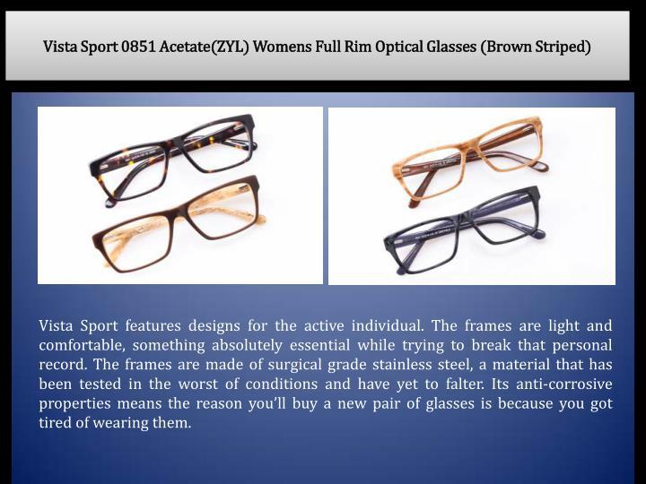 Vista Sport 0851 Acetate(ZYL) Womens Full Rim Optical Glasses (Brown Striped)