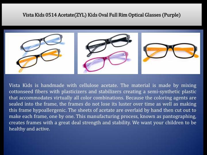 Vista Kids 0514 Acetate(ZYL) Kids Oval Full Rim Optical Glasses (Purple)