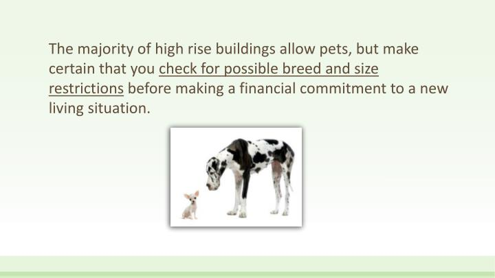 The majority of high rise buildings allow pets, but make certain that you