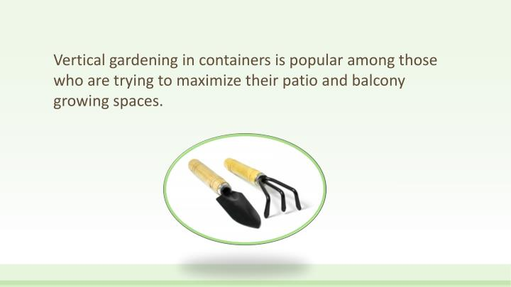 Vertical gardening in containers is popular among those who are trying to maximize their patio and balcony growing spaces.