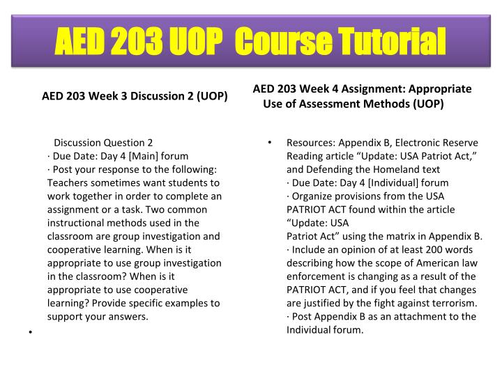 AED 203 Week 3 Discussion 2 (UOP)