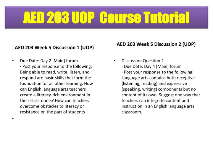 AED 203 Week 5 Discussion 1 (UOP)