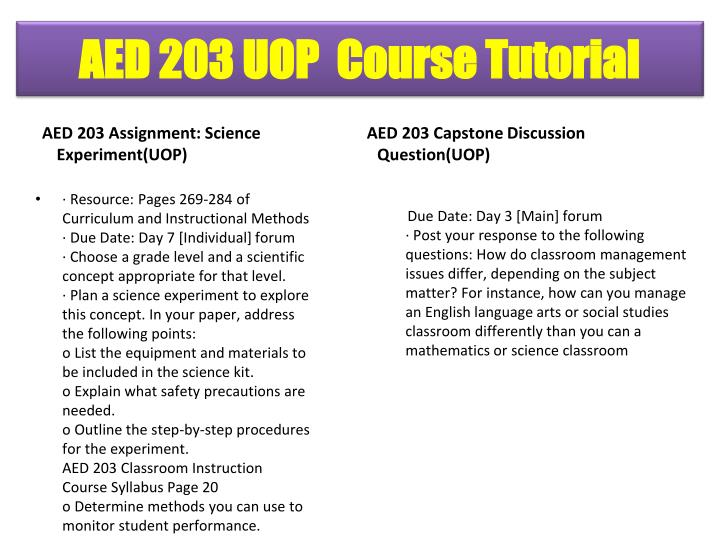 AED 203 Assignment: Science Experiment(UOP)