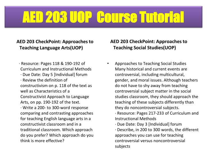 AED 203 CheckPoint: Approaches to Teaching Language Arts(UOP)