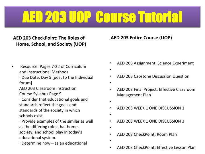 AED 203 CheckPoint: The Roles of Home, School, and Society (UOP)